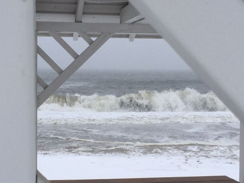 Today's surf, as seen from behind a lifeguard stand. (Photo/Brian Chapman)