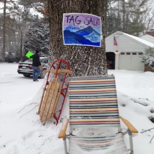 A tag sale at 24 Ferry Lane East had few visitors. It's been extended to tomorrow. But hey -- items are available for all seasons! (Photo/Alison Fisher)