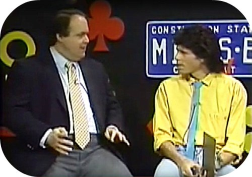 Rush Limbaugh and Miggs Burroughs, on the set in 1988.