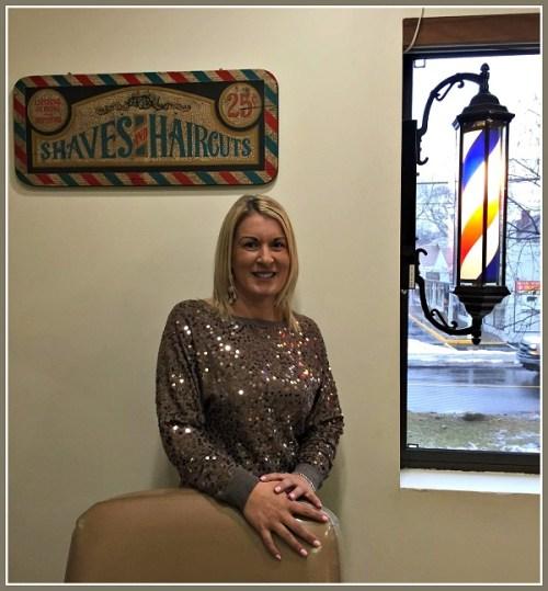 Tammy Stefanidis, new owner of the very old Riverside Barber Shop.