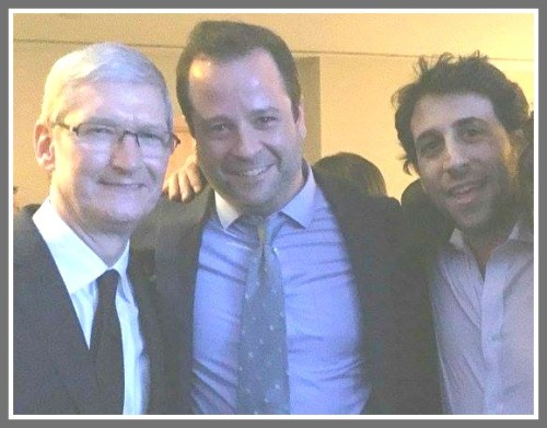 Ben Erwin (center) and Ian Manheimer with Tim Cook. The Apple CEO met with RFK Young Leaders.