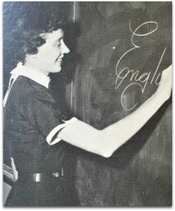 V. Louise Higgins, in the 1956 Staples yearbook...