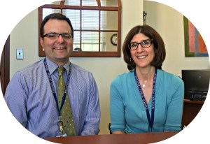 James D'Amico and director of elementary education Julie Droller, in Westport school district headquarters at Town Hall.