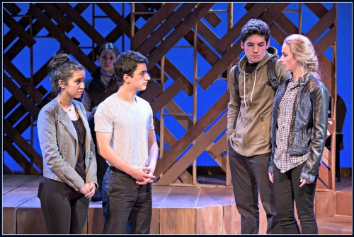 "Brooke Wrubel, Jacob Leaf, Charlie Zuckerman and Jackie Rhoads, in ""The Laramie Project: 10 Years Later."" (Photo/Kerry Long)"