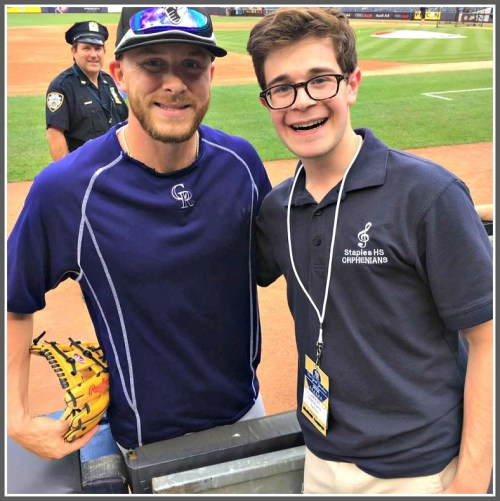 Recent graduate Aaron Samuels poses with his good buddy, the Colorado Rockies' Trevor Story.