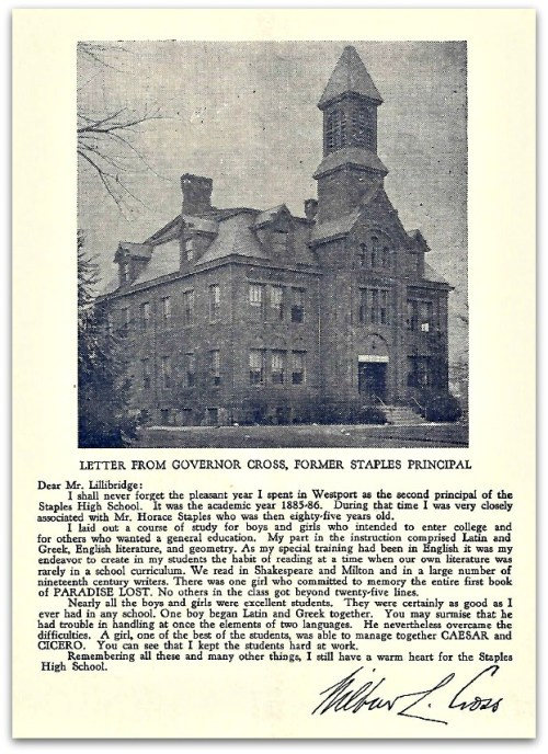 Governor Wilbur Cross' letter in the commencement program -- with a photo of Staples High School.