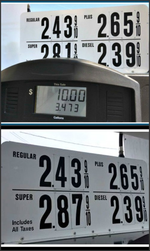 Mary Ann West's pump prices (top); Alan Phillips' photo today.