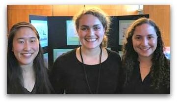 Gabby Wimer (center), flanked by University of Chicago friends Joyce Lu and Elizabeth Frank.