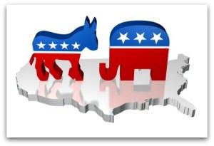 Republican and Deomocratic symbols