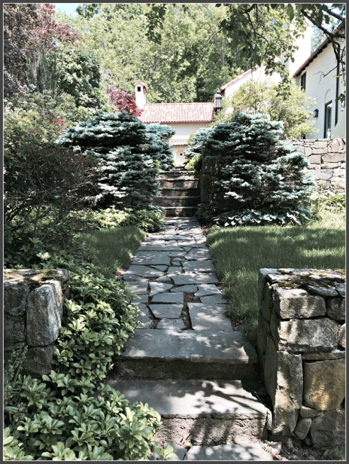 Steps leading to the front courtyard at 63 Turkey Hill Road South. (Photo/Robinson Strong)
