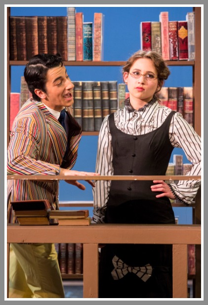 Jacob Leaf as Harold Hill, and Zoe Mezoff as Marian the Librarian. (Photo/Kerry Long)