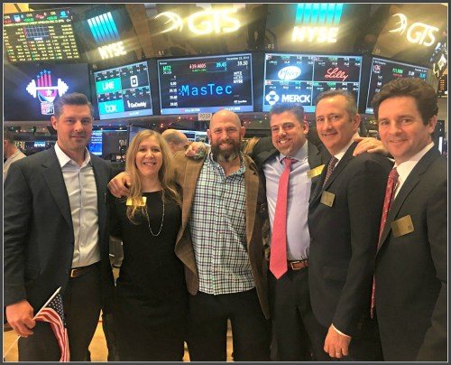 At the New York Stock Exchange this morning (from left): Lance Lonegran, Adam Vengrow, Johanna Rossi, Andrew Berman, David Frost and Tom Dippel