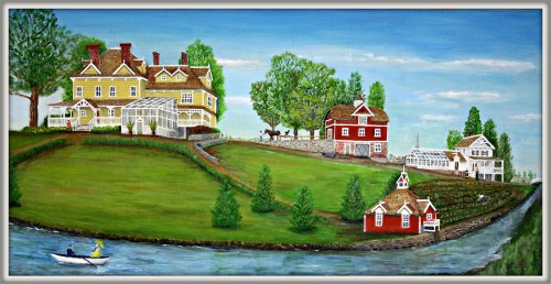 The boathouse -- then painted red -- is in the lower right corner of this painting.