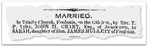 The wedding announcement of John Grant and Sarah Mullett.