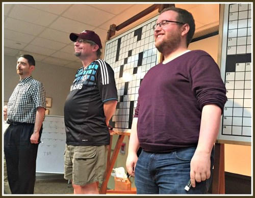 The 3 finalists. Andy Kravis (right) of New York City won, finishing a Friday puzzle in a blazing 4:50. Eric Maddy (center) finished 2nd. He came all the way from California -- and received ed a Westport Library tote bag in appreciation.