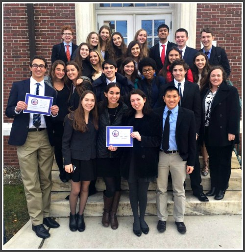 "Suzanne Kammerman (2nd row, far right) and her AP Government ""We the People"" class, after finishing 2nd in the statewide competition last December."