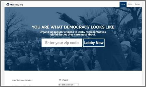 The home page of YouLobby.org.