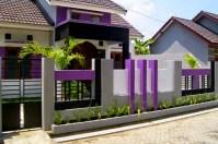 Desain Warna Cat Pagar Rumah Ungu Minimalis
