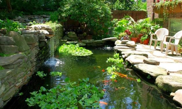 Kolam ikan halaman rumah dengan konsep waterfall minimalis
