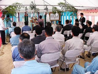 工事関係者約50人による地鎮祭