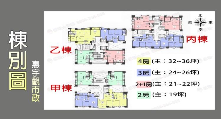 惠宇觀市政社區 介紹 全區棟別圖 格局圖 佩君 0908-364-505