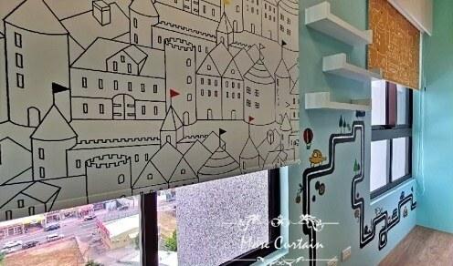 台中市彩色印刷捲簾案例 沐爾窗飾 新家裝潢窗簾案例推薦