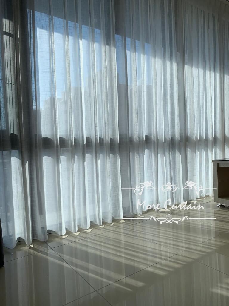 細緻痲料紗簾 客廳落地窗簾