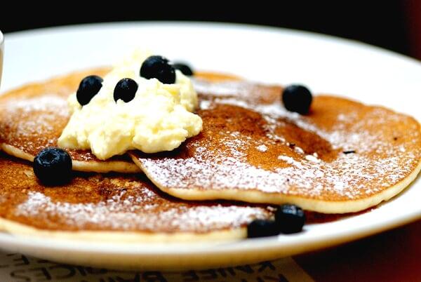 Banana Pancakes with Blueberries & Creme Fraiche