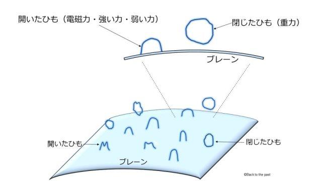 超弦理論の「開いたひも」と「閉じたひも」