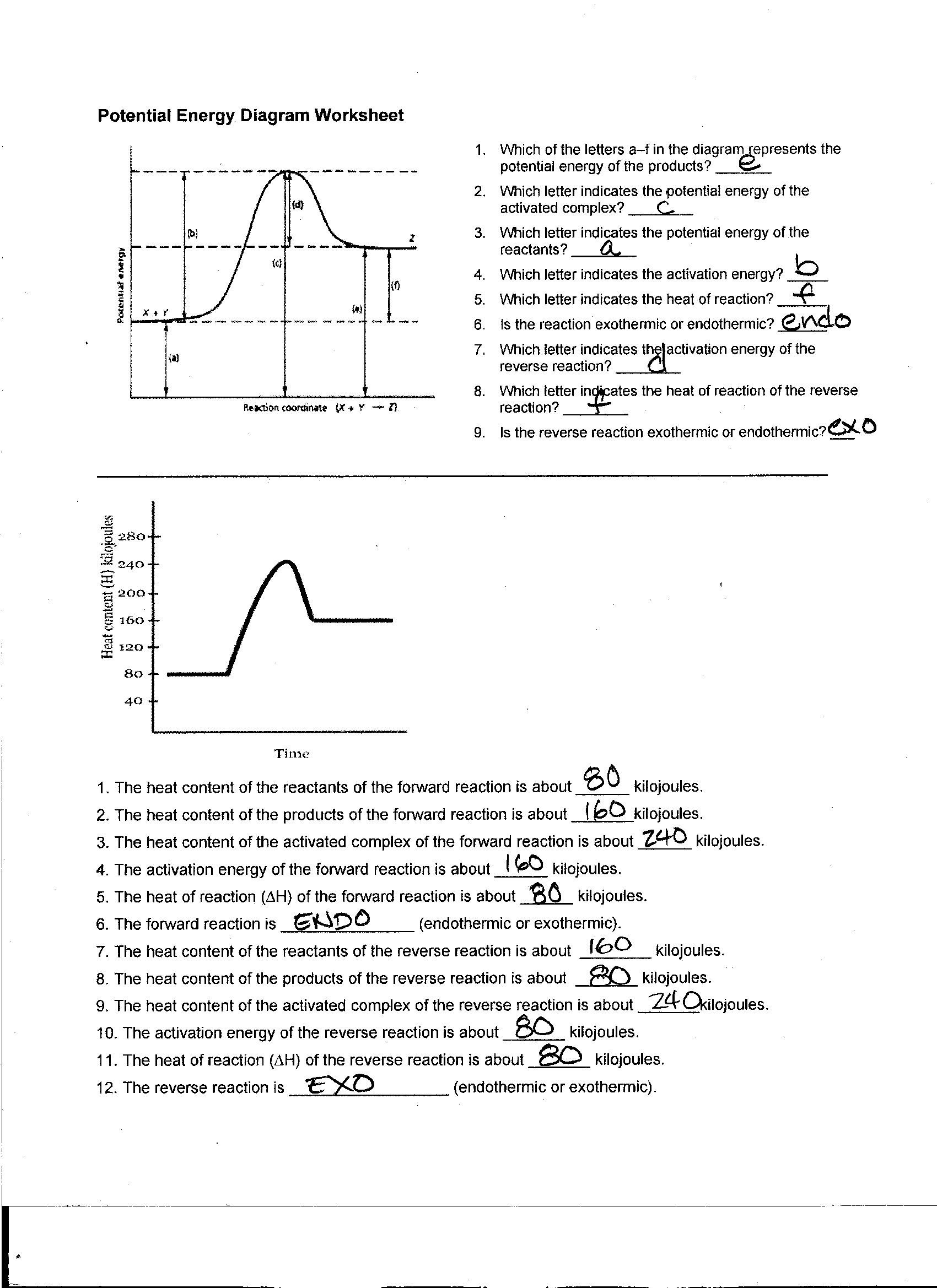 Energy Worksheet 1 Reaction Rates