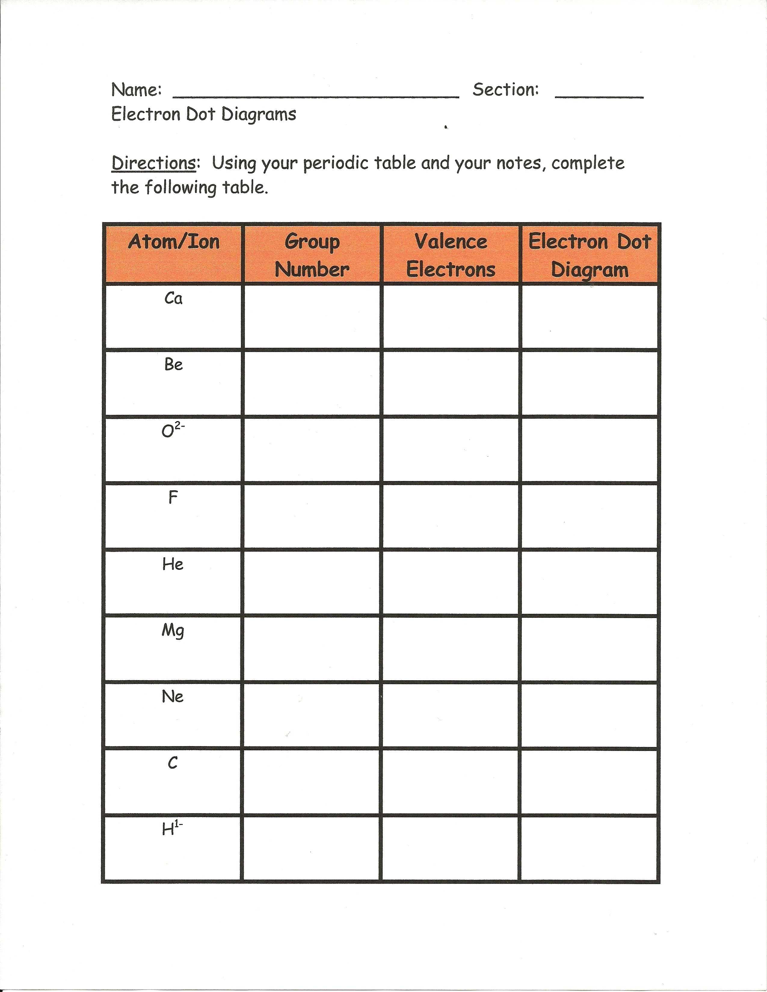 Electron Configuration Lewis Dot Structure Worksheet