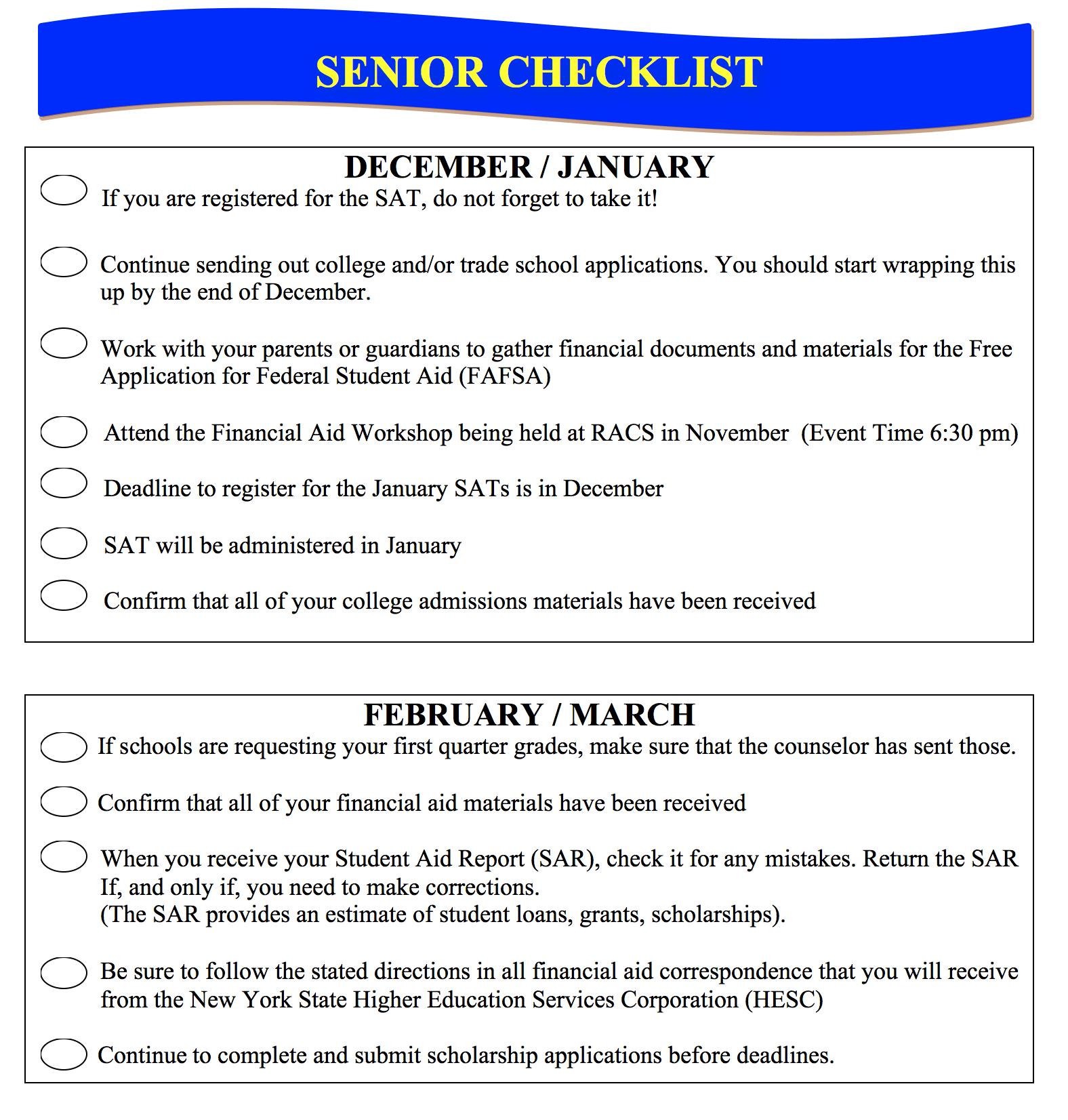 Senior Checklist College Amp Career Center Rochester