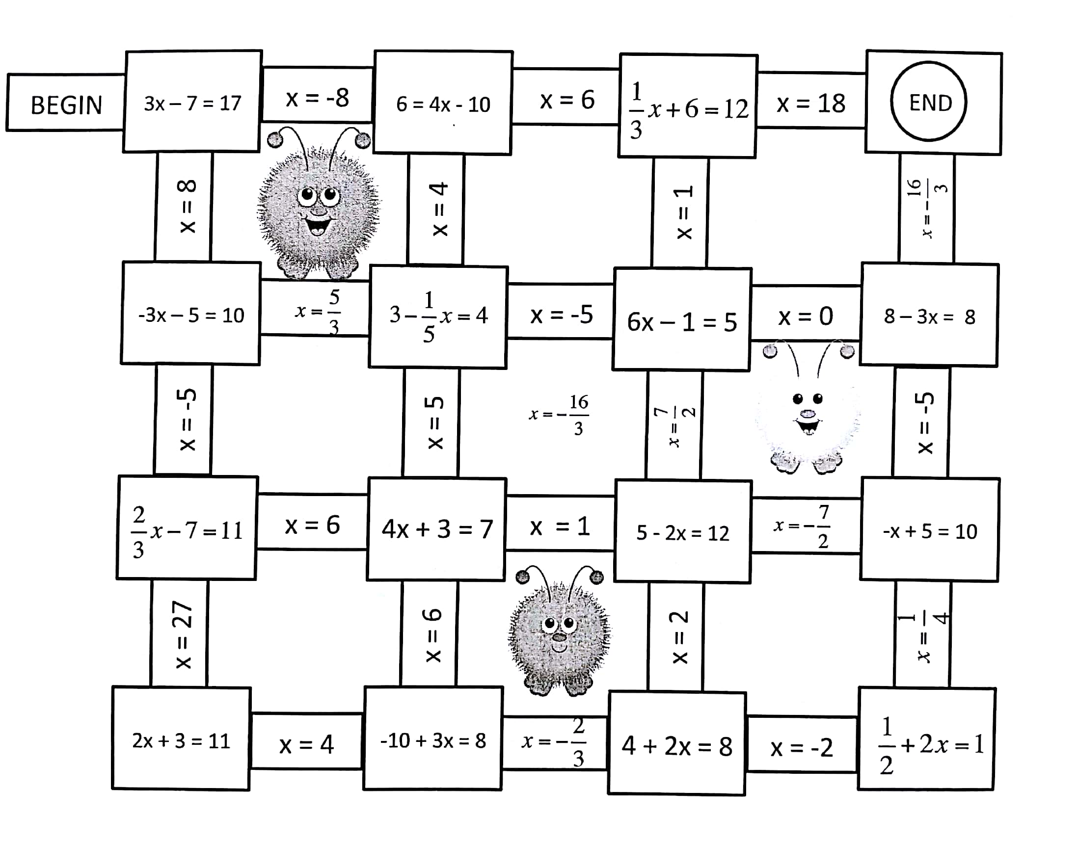 2 Step Equation Maze Answer Key