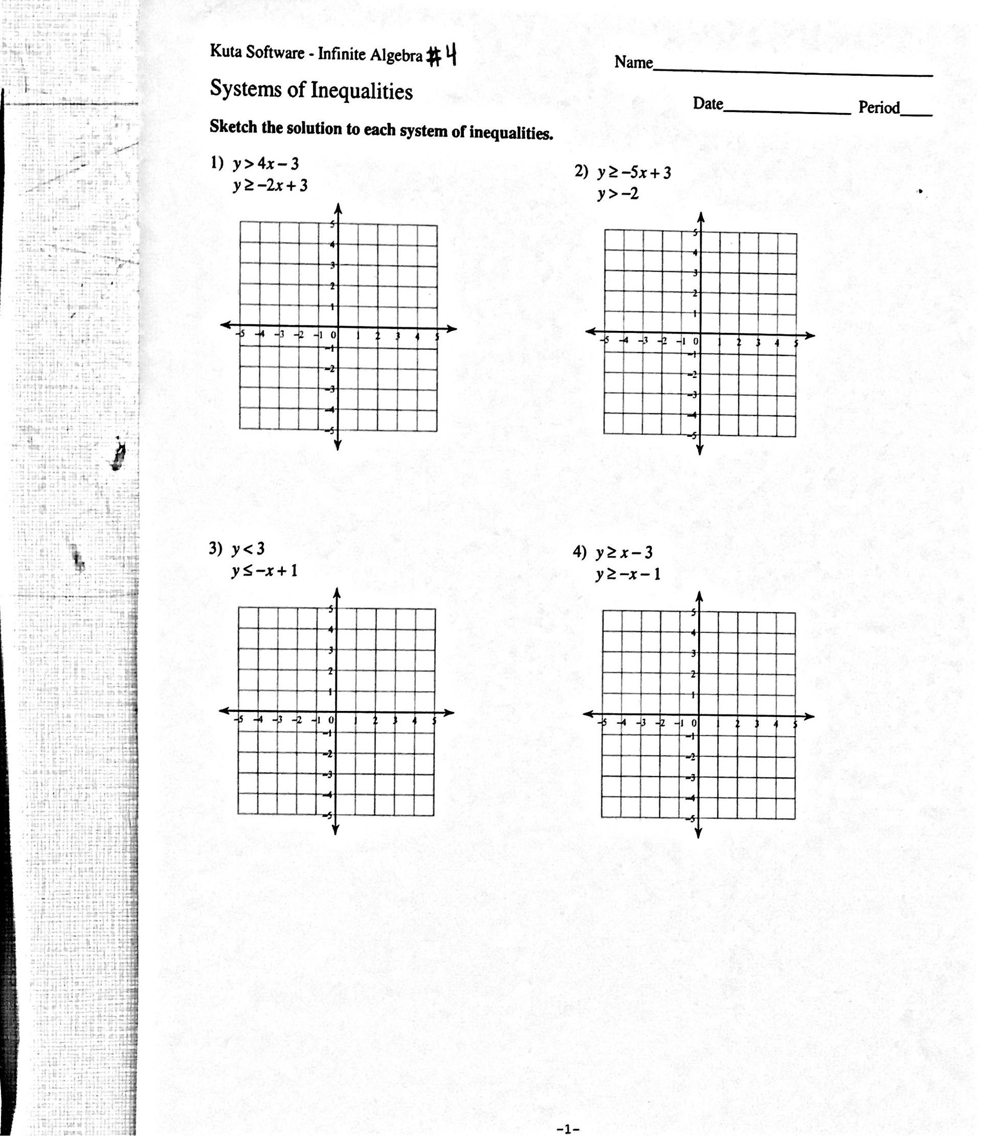 Kuta Worksheet On Parabolas