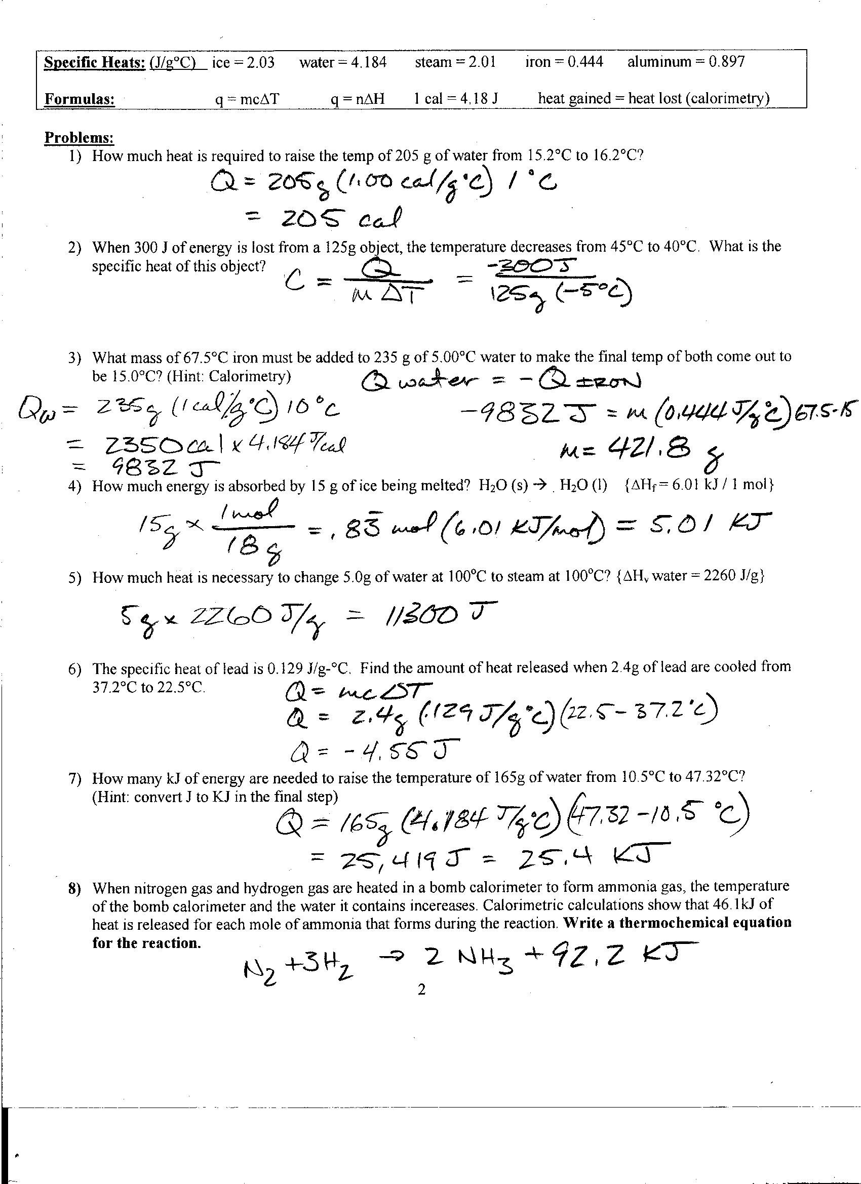 Specific Heat Calculations Worksheet Chemistry Answers