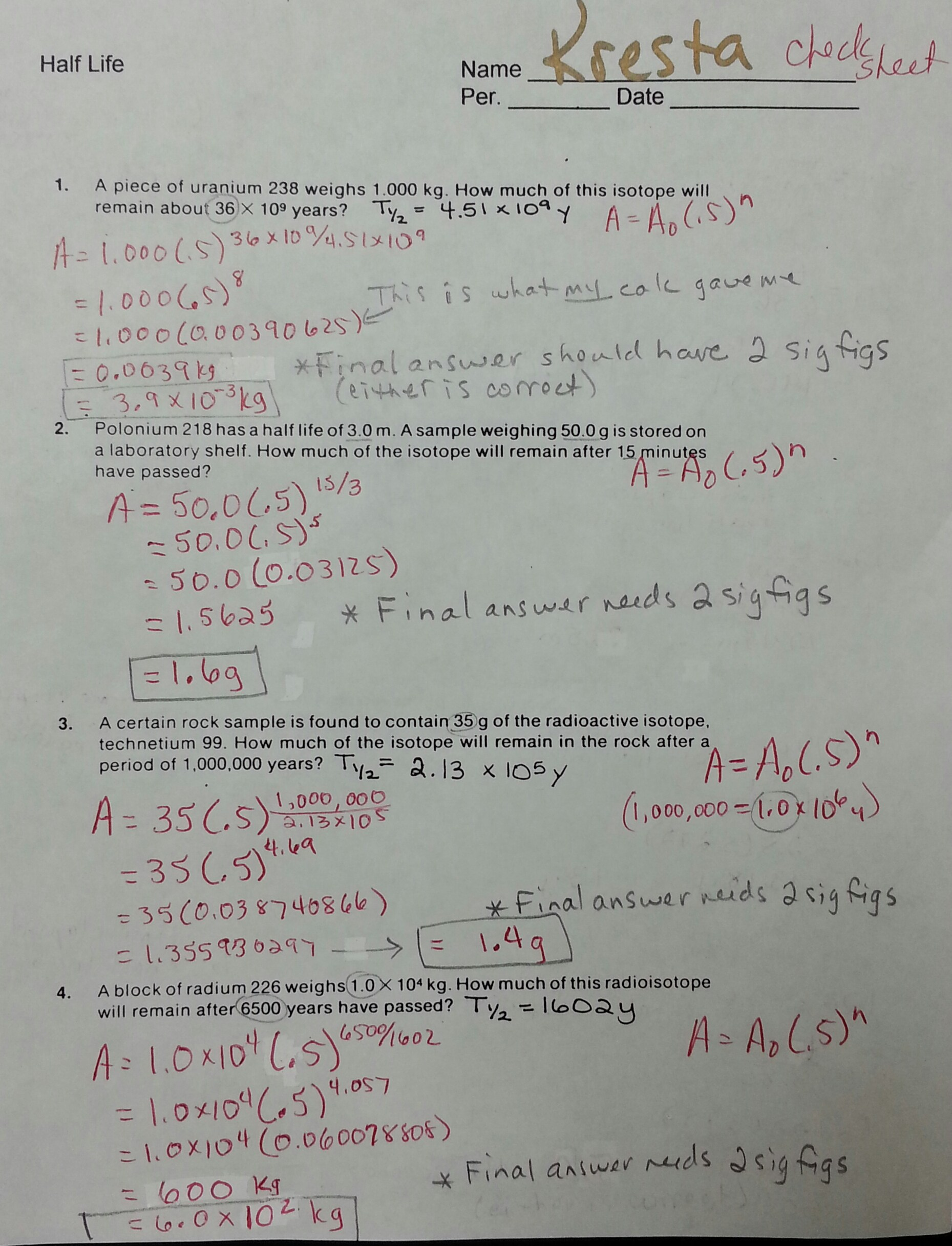 Half Life Of Radioactive Isotopes Worksheet Answers