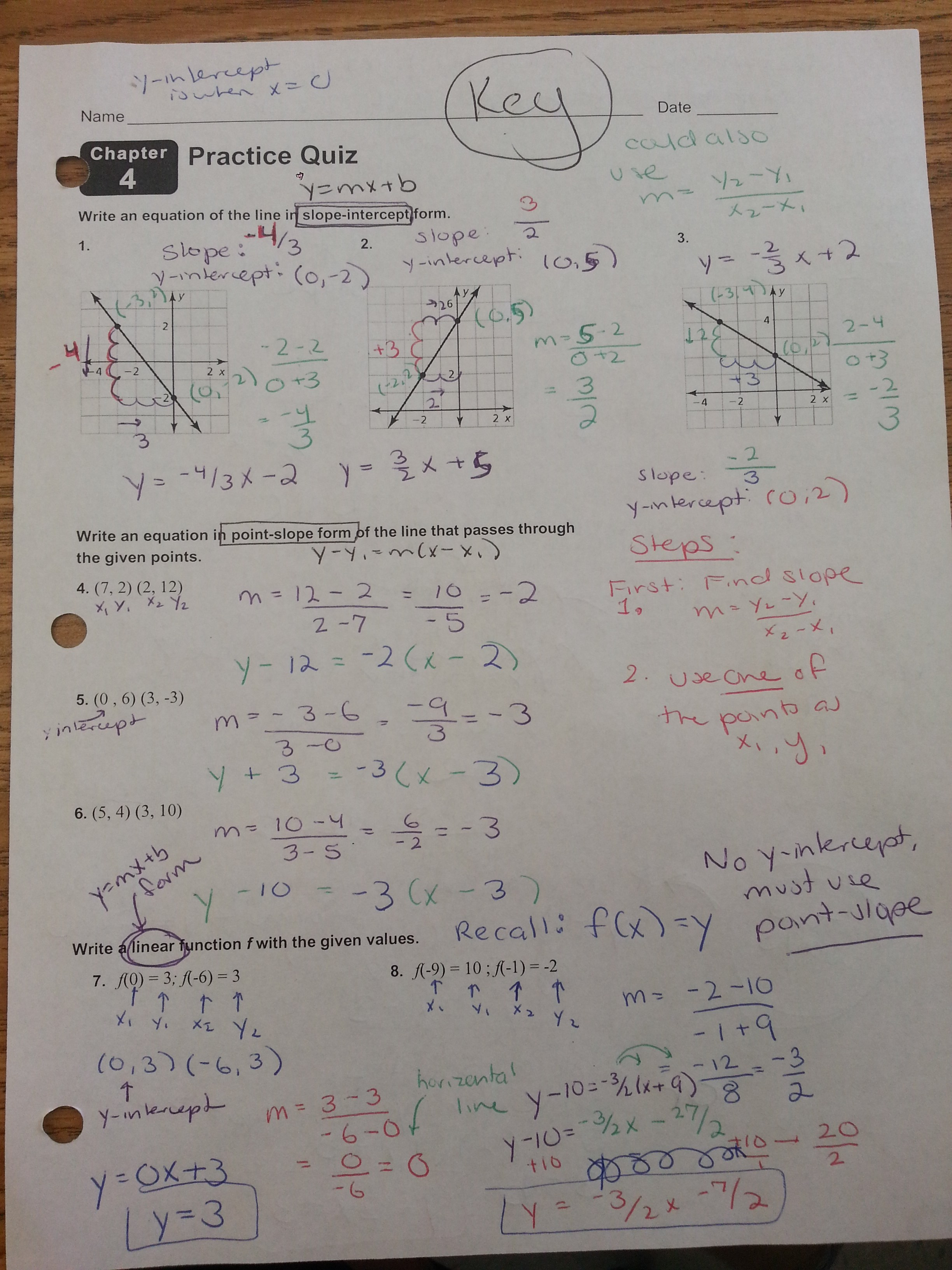 Chapter 4 Test Graphing And Writing Linear Equations Answers