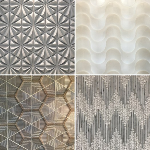 Clockwise from top left: Tiles by Walker Zanger, Surface by Hi-Macs, Tile by Pera Tile, Tile by Ann Sacks