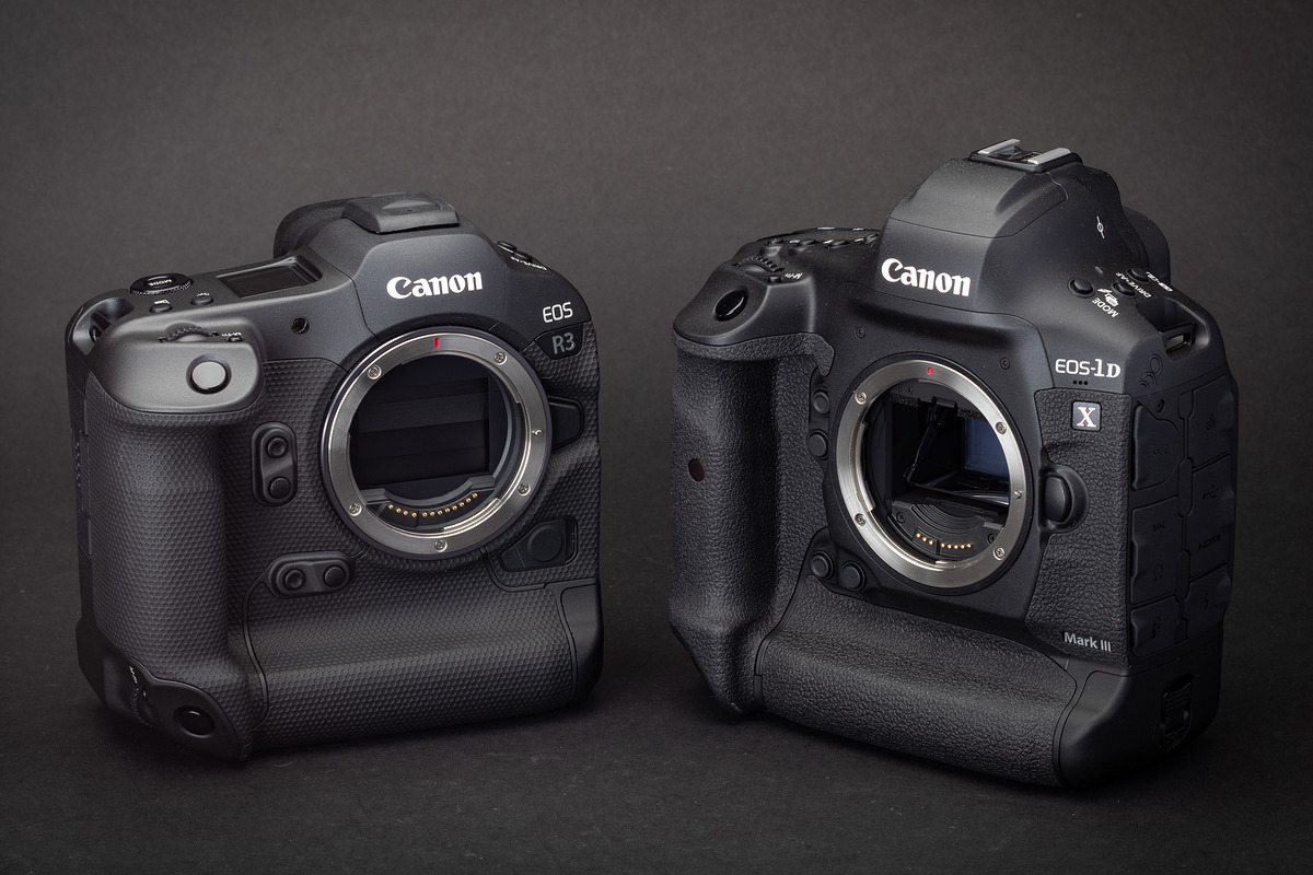 The Canon EOS R3 camera body and EOS-1D X III camera body placed side by side.