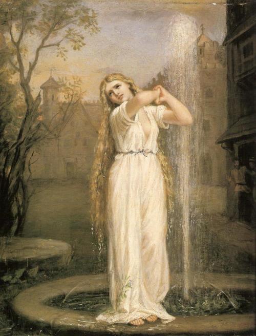 John William Waterhouse, Undine, 1872. Ondine est une nymphe ou naïade. À l'inverse des sirènes, les nymphes ne fréquentent pas la mer, mais les eaux courantes, rivières, fontaines, et n'ont pas de queue de poisson. Durant l'été, elles aiment se tenir assises sur la margelle des fontaines, et se peigner leurs longs cheveux avec des peignes d'or ou d'ivoire. Elles aiment également se baigner dans les cascades, les étangs, et les rivières, à la faveur des jours radieux d'été. On dit que celles qui ont les cheveux couleur d'or possèdent de grands trésors qu'elles gardent dans leurs beaux palais immergés.