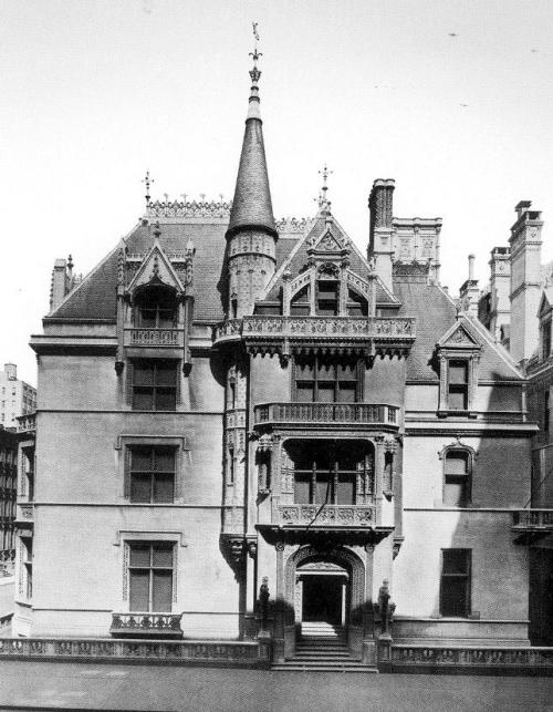 """William K Vanderbilt's 660 Fifth Avenue Mansion Spanish Revival Architecture """"Past an entrance vestibule lined in delicately carved stone drapery, the long main hall neatly bisected the house. Its walls of finely detailed Caen stone contrasted with the elaborate wood ceiling. Midway through the hall, ont he right, an ornate stone arch opened onto the grand staircase. Around the rest of the hall, the principal entertaining rooms were arranged. A French Renaissance library and a reception room with intricate inlaid paneling faced Fifth Avenue; within a few years, the latter room was redecorated using a set of carved 17th century Grinling gibbons limewood pendants. On the 52nd street side was a gold and white Regence salon with a ceiling painting by Paul Baudry and an ornate beamed-ceiling breakfast room that featured Rembrandt's portrait The Noble Slav. Across the rear of the house, a two-story stone banquet hall had lower walls paneled in carved, quartered oak. During the day, the large stained-glass windows surrounding the room's upper walls bathed the 35-by-50-foot space in soft colors. The last room on this level was the exotic Moorish billiard room tucked behind the staircase. All the rooms could be thrown open on gala nights to accommodate the large throngs the Vanderbilts entertained. Suites for Mr. and Mrs. Vanderbilt and for their three children occupied the next two floors. Mirrors, hand-painted with blossoming cherry trees, paneled Mrs. Vanderbilt's bathroom. On the third floor above the great hall, a gymnasium was later converted into an Elizabethan-style supper room.""""  1883 - 1926. What a waste of work. """"In February 1926, wreckers leveled Richard Morris Hunt's beautiful early French Renaissance chateau and carted the remains to an anonymous landfill. Today, a rather mundane office building stands on the site where Alva and William K. Vanderbilt once conquered society's """"400."""""""