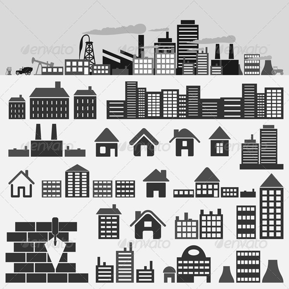 House icons4 GraphicRiver - Vectors -  Objects  Buildings 539754