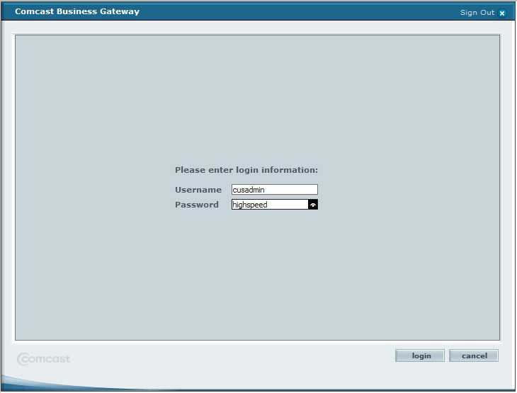 10.1.10.1 login page - comcast business router