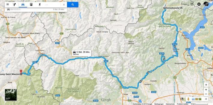 Domodossola-Bourg-Saint-Maurice-Map