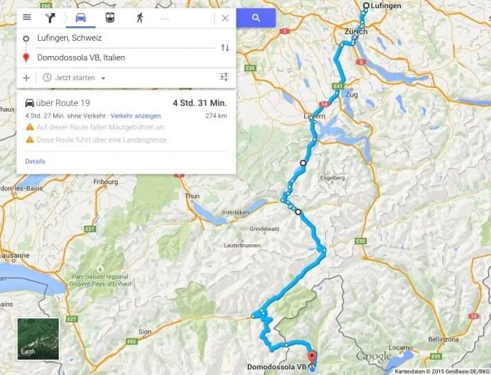 Lufingen-Domodossola-Map
