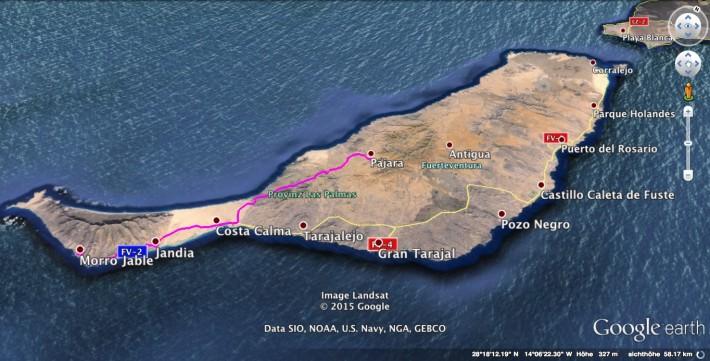 Morro-Jable-to-Pajara-Map