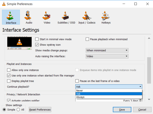 Do You Want Vlc To Restart Or Continue The Playback Where Left Off