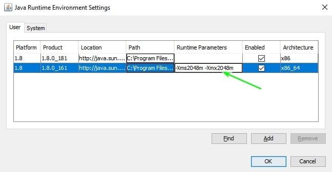 Вставляем параметры Java для Майнкрафта