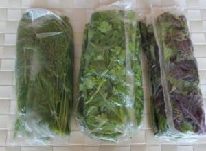 зелень в пакетиках