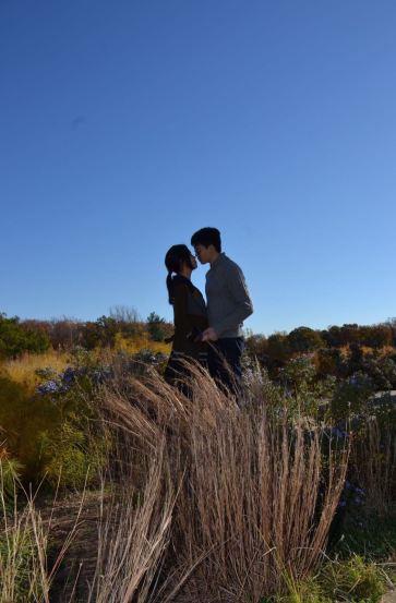 Kiss under blue sky